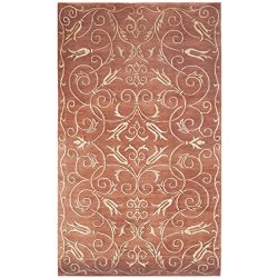 Safavieh Tibetan Collection TB417C Hand-Knotted Rust and Gold Silk & Wool Area Rug (4′ ...