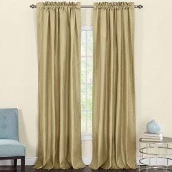 Heritage Landing Faux Silk Lined Window Panel Pair, 108″, Gold