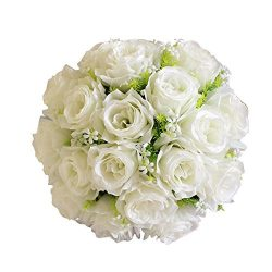 Bridal Bouquet,Han Shi Artificial Silk Roses Flowers Home Wedding Decor 18 Head Floral (S, B)