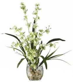 Nearly Natural 1119-GR Dancing Lady Orchid Liquid Illusion Silk Flower Arrangement, Green
