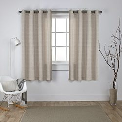 Exclusive Home Curtains Virenze Faux Silk Grommet Top Window Curtain Panel Pair, Taupe, 54×63