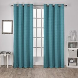Exclusive Home Curtains Virenze Faux Silk Grommet Top Window Curtain Panel Pair, Teal, 54×84