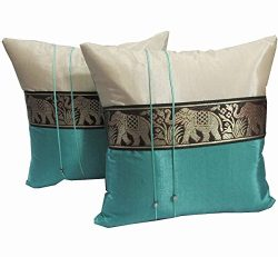 Cozymomo One Pair Ivory Teal Big Elephant Stripe Throw Cushion Cover/Pillow Case Thai Silk for D ...