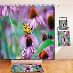 Nalahome Bath Suit: Showercurtain Bathrug Bathtowel Handtowel Garden Monarch Butterfly on Conefl ...