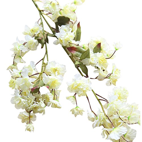 Fake Flowers,Napoo Cherry Blossom Silk Flower Bridal Hydrangea Garden Party Home Decor (A)