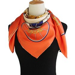 Silk Scarf Luxurious Hair Wrap – 100% Nature Silk 14mm Twill Orange Square Scarf (silk squ ...