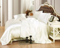 Ultra Soft Luxurious Satin Silk Duvet Set King | Super Silky Vibrant with comes in many colors l ...