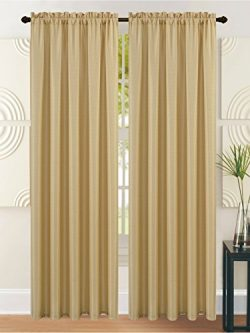 All American Collection New Heavy Solid Faux Silk 1 Panel Curtain with Available Matching Waterf ...