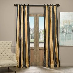 Half Price Drapes PTSCH-ST8007-108 Faux Silk Taffeta Stripe Curtain, Madrid, 50″ x 108″