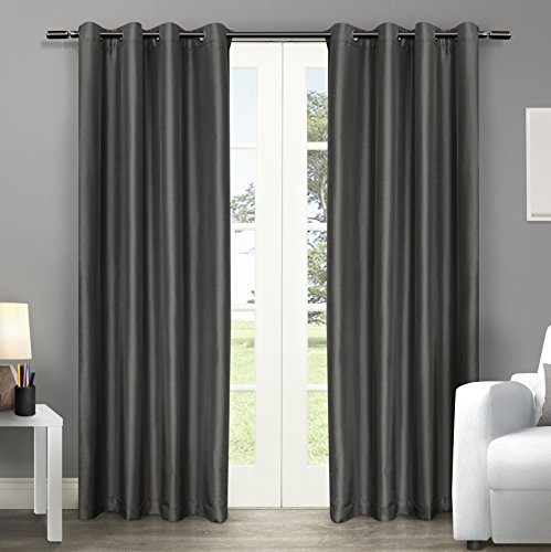 Exclusive Home Curtains Chatra Faux Silk Grommet Top Window Curtain Panel Pair, Black Pearl, 54& ...