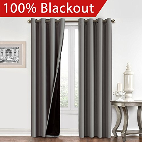 Flamingop Full Blackout Grey Curtains Faux Silk Satin With