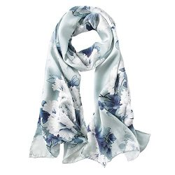 STORY OF SHANGHAI Womens 100% Mulberry Silk Head Scarf For Hair Ladies Floral Satin Scarf