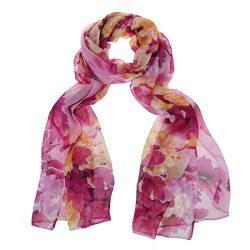 ChikaMika Fashion Scarves for Women Floral Scarves Chiffon Lightweight Wrap Shawls