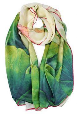 ELEGNA Women's 100% Silk Flower Painting Long Scarf Shawl (Lotus)