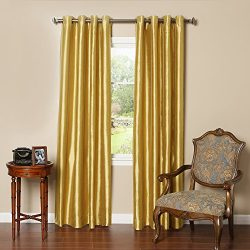 Best Home Fashion Gold Dupioni Faux Silk Grommet Top Blackout Curtain 96″ L – 1 Pair