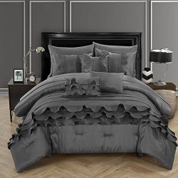 Chic Home 10 Piece Denver Rouching Pleated Ruffles Complete Bed In A Bag Comforter Set Sheets Se ...