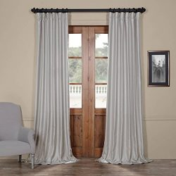 Half Price Drapes Pdch-HANB91-108 Yarn Dyed Faux Dupioni Silk Curtain, 50 x 108, Elemental Silver