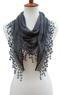 Cindy & Wendy Lightweight Triangle Floral Fashion Lace Fringe Scarf Wrap for Women (SSLS-Cha ...