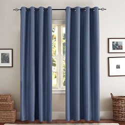 Faux Silk Blackout Curtains for Bedroom, Living Room Thermal Insulated Luxury Dupioni Window Cur ...