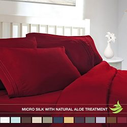 Luxury Bed Sheet Set – Soft MICRO SILK Sheets – Twin Size, Burgundy Red – with ...