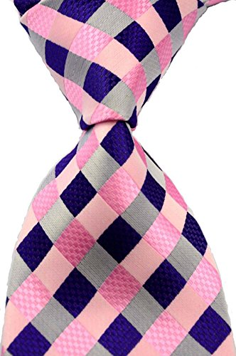 Scott Alone : New Classic Checks Jacquard Woven Silk Men's Tie Necktie (Pink)
