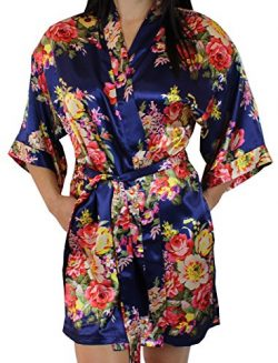 Women's Satin Floral Kimono Short Bridesmaid Robe W/ Pockets – Dark Blue XS/S