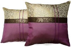 Set of Two Wine Purple Silk Throw Cushion Cover Pillow Case With Elephant Middle Stripe for Deco ...