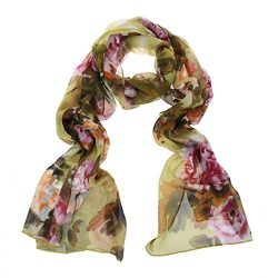 ChikaMika Chiffon Scarves for Women Lightweight Fashion Wrap Shawls Peony Green Scarves