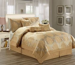 Hillsbro 7 Piece Heritage Gold Pillow Sham Comforter Set Full Queen King (Cal-King)