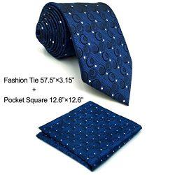 Shlax&Wing Navy Blue Neckties Silk Men Ties Business Set 57.5″