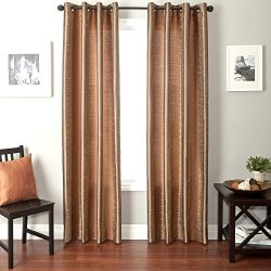 Softline Home Fashions Fantasy Series Faux Silk Window Panel/Treatment/Drape/Curtain, Champagne/ ...
