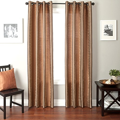 Softline Home Fashions Fantasy Series Faux Silk Window Panel/Treatment/Drape/Curtain, Champagne/ ...