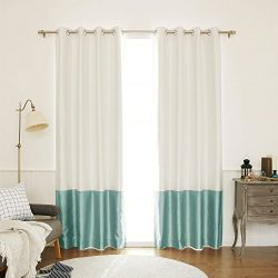 Best Home Fashion Colorblock Faux Silk Blackout Curtain – Stainless Steel Nickel Grommet Top  &# ...