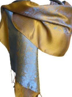 Fandori Silk Scarf with Contrasting Color-Blue and Gold