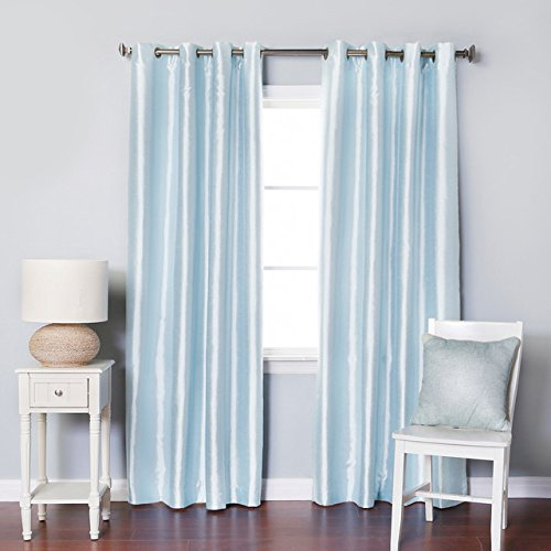 Luxurydiscounts 2 Piece Solid Faux Silk Grommet Window