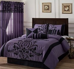 Chezmoi Collection 7-piece Black Violet Flocked Floral Faux Silk Bedding Comforter Set (Californ ...