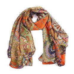 TAORE Women's Fashion Silk Long Soft Scarf Wrap Chiffon Shawl Silk Scarves (Orange)