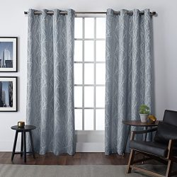 Exclusive Home Curtains Finesse Grommet Top Window Curtain Panel Pair, Steel Blue, 54×108