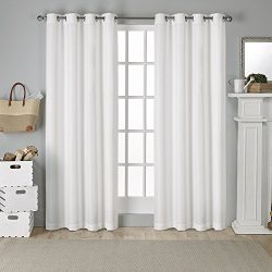 Exclusive Home Curtains Virenze Faux Silk Grommet Top Window Curtain Panel Pair, Winter White, 5 ...