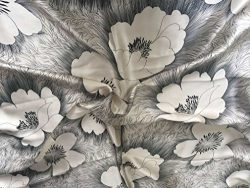 Maxfeel 100% Pure Mulberry Silk Charmuse Floral Fabric 45″ Wide for Bedding Dress By the Y ...