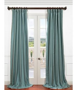 Half Price Drapes PDCH-HANB52-96 Yarn Dyed Faux Dupioni Silk Curtain, Blue Agave