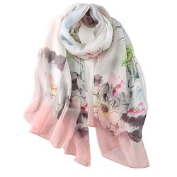 STORY OF SHANGHAI Womens 100% Mulberry Silk Head Scarf For Hair Ladies Floral And Butterfly Scarf
