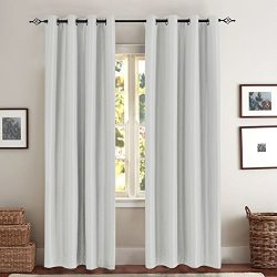 Blackout Curtains for Bedroom Grey Luxury Dupioni Faux Silk Window Drapes for Living Room with A ...