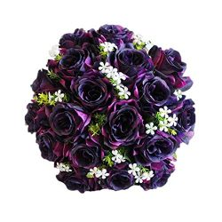 Fake Flowers, Leewa 18 Heads Artificial Silk Roses For Bridal Bouquet Home Wedding Decor (36cm(L ...