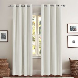 White Blackout Curtains for Living Room with Anti-bacteria Luxury Flux Silk Dupioni Room Darkeni ...