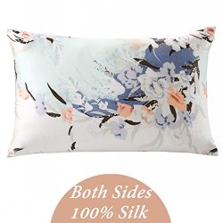 ZIMASILK 100% Mulberry Silk Pillowcase for Hair and Skin Health, Both Side Silk,Floral Print , 1 ...