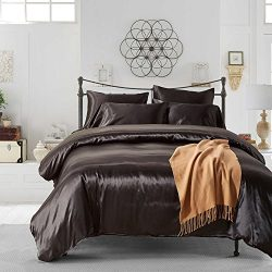 HOMIGOO 3PCS Silk Like Fabric Summer Cool Bedding Set Solid Comforter Cover Queen Black