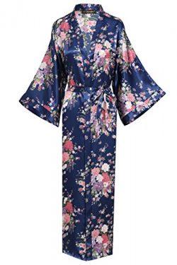 BABEYOND Womens Kimono Robe Long Floral Wedding Robes For Bridesmaids Satin Silk Kimono Nightgow ...