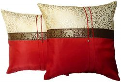 Set of Two Aurora Red Silk Throw Cushion Pillow Cover Case With Elephant Middle Stripe for Decor ...