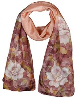 Invisible World Women's 100% Silk Hand Painted Rectangular Scarf Roses Mauve